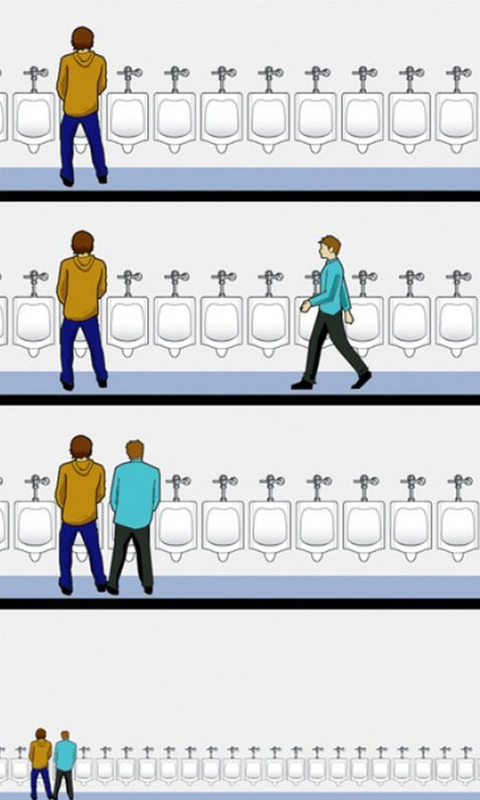 Funny image bad urinal manners geek montage for Male bathroom etiquette