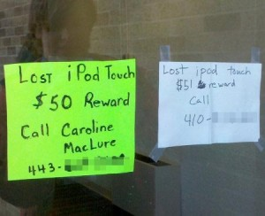 Lost iPod Touch Reward
