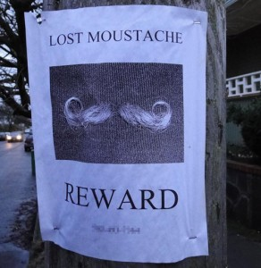Lost Mustache Sign - Reward Available!